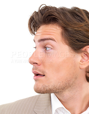 Buy stock photo Closeup of a young businessman looking away