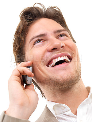 Buy stock photo Closeup of a businessman using mobile phone against white background