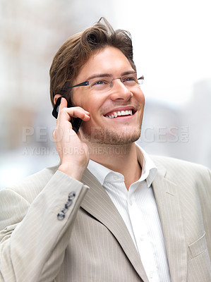 Buy stock photo Closeup of a businessman using mobile phone