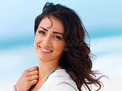 Buy stock photo Portrait of a beautiful young woman smiling