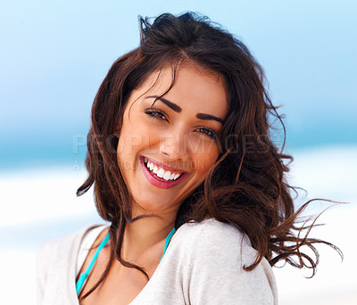 Buy stock photo Portrait of a beautiful young lady smiling