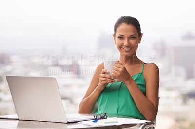 Buy stock photo A vibrant young woman smiling happily at the camera