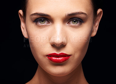 Buy stock photo A stunning young woman isolated on a black background