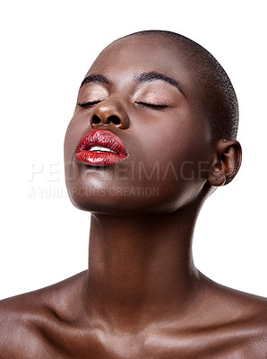 Buy stock photo Studio shot of a beautiful young african woman isolated on white