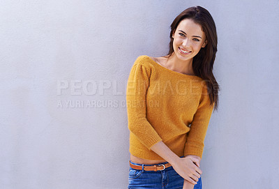 Buy stock photo Portrait of a beautiful young woman looking happy