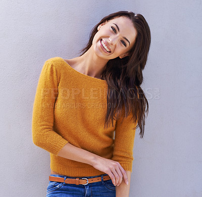 Buy stock photo Portrait of a beautiful young woman laughing and being playful