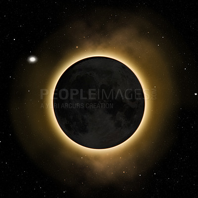 Buy stock photo Shot of a solar eclipse blotting out the sun- ALL design on this image is created from scratch by Yuri Arcurs'  team of professionals for this particular photo shoot