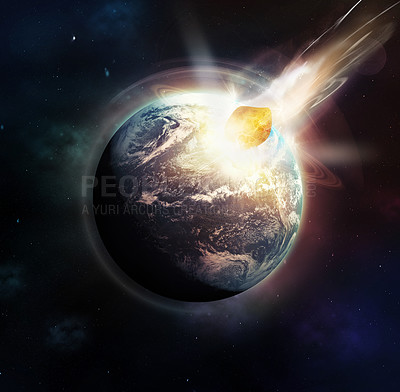 Buy stock photo Image of a meteor slamming into the earth in a world ending event- ALL design on this image is created from scratch by Yuri Arcurs'  team of professionals for this particular photo shoot