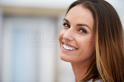 Buy stock photo Headshot of a young woman outdoors
