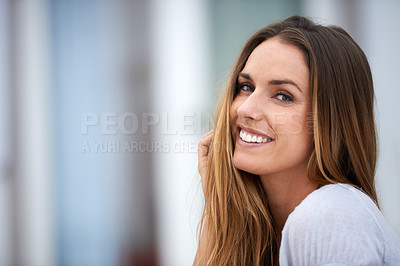 Buy stock photo Portrait of a beautiful woman sitting outside