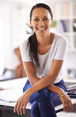 Buy stock photo Shot of a beautiful seamtress in her boutique