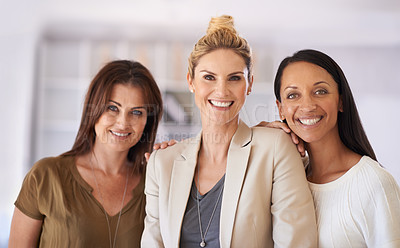Buy stock photo Shot of three beautiful businesswoman at work