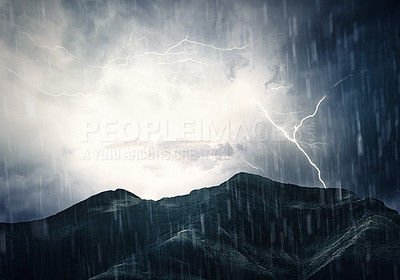 Buy stock photo Illustration of a landscape under a torrential storm