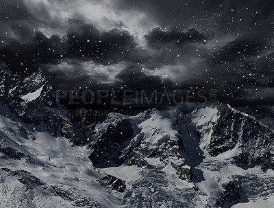 Buy stock photo Illustration of a mountainous landscape in the grips of a snowstorm
