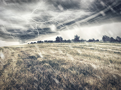 Buy stock photo Illustrated landscape of a field under a fierce storm