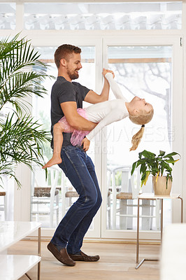 Buy stock photo Full length shot of a father and daughter dancing