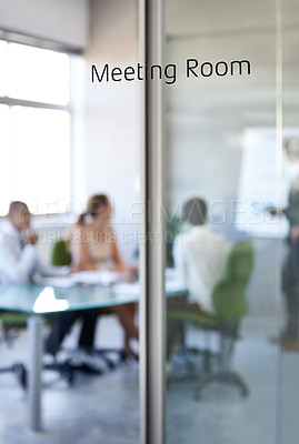 Buy stock photo Shot of a boardroom meeting in progress