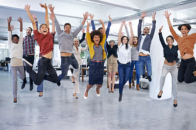 Buy stock photo Shot of office staff jumping