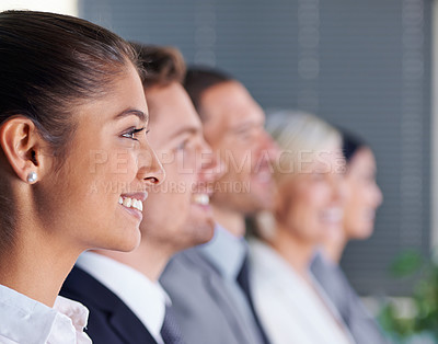 Buy stock photo Profile shot of a row of businesspeople