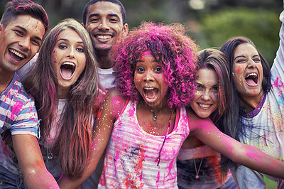 Buy stock photo Shot of happy friends having fun with powder paint