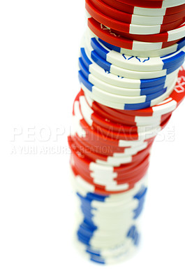 Buy stock photo Isolated poker chips in high resolution