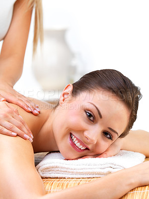 Buy stock photo Portrait of a sexy young woman receiving back massage