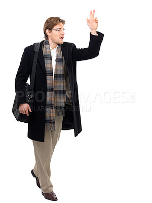 Buy stock photo Young businessman calling a cab or friend. Isolated against white background