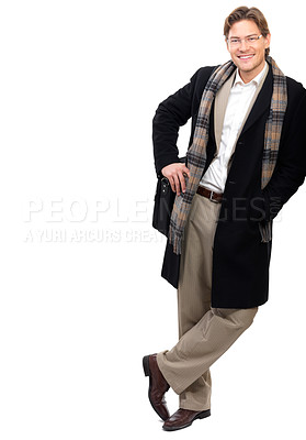 Buy stock photo Portrait of a cheerful businessman leaning against white background