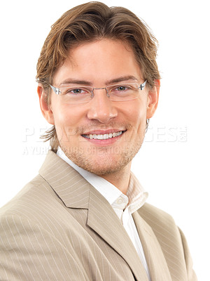 Buy stock photo Cheerful young businessman against white background