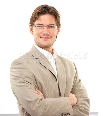 Buy stock photo Portrait of a confident young businessman with arms crossed