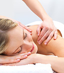 Getting a massage - smiling face