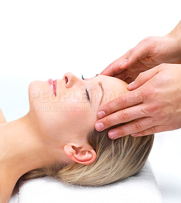 Buy stock photo Beauty salon or Day spa - massage. Portrait of a pretty young girl getting a massage at the day spa