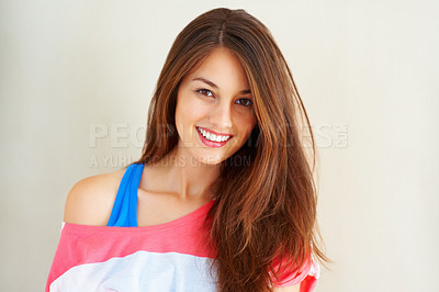 Buy stock photo Portrait of young girl giving you beautiful smile