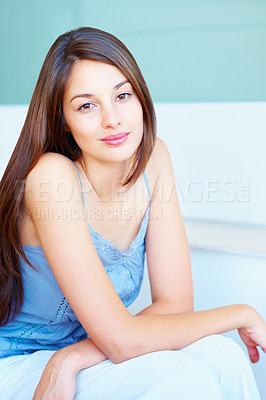 Buy stock photo Portrait of beautiful young woman giving you warm smile