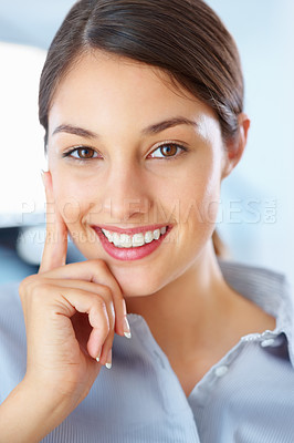Buy stock photo Closeup of young female executive giving you beautiful smile