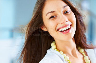 Buy stock photo Closeup of young woman giving you beautiful smile