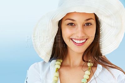 Buy stock photo Closeup of woman in hat giving you cute smile