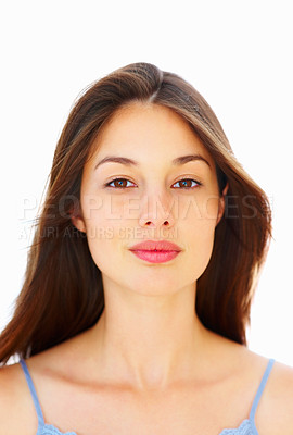 Buy stock photo Closeup of beautiful young girl looking at you against white background