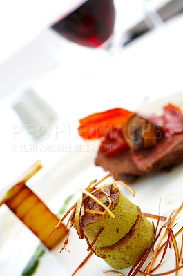 Buy stock photo Shot of expensive cuisine on a restaurant table