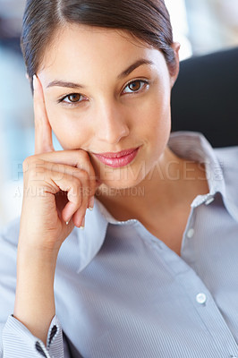 Buy stock photo Closeup of attractive business woman sitting on chair and giving you warm smile