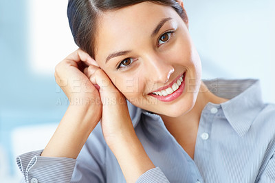 Buy stock photo Closeup of young female executive giving you an attractive smile