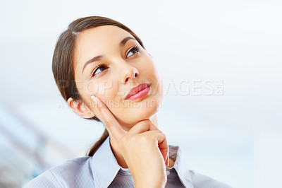 Buy stock photo Closeup of thoughtful business woman looking at copyspace