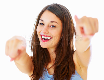 Buy stock photo Portrait of excited young woman pointing at you on white background