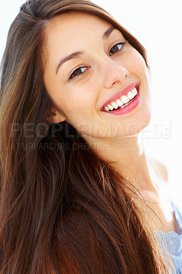 Buy stock photo Portrait of beautiful young woman giving young warm smile