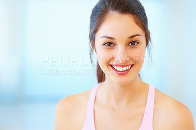 Buy stock photo Pretty young woman smiling - copyspace