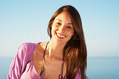 Buy stock photo Portrait of attractive young woman smiling - copyspace