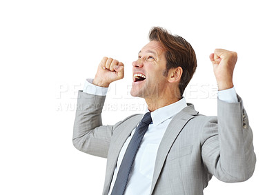 Buy stock photo Portrait of a joyful young businessman celebrating success against white background