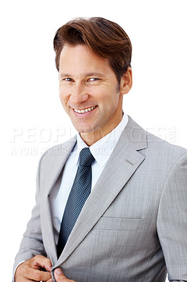Buy stock photo Portrait of a smiling young businessman smiling isolated against white background