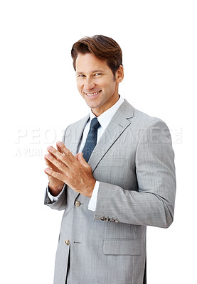 Buy stock photo Portrait of a happy young businessman standing isolated against white background