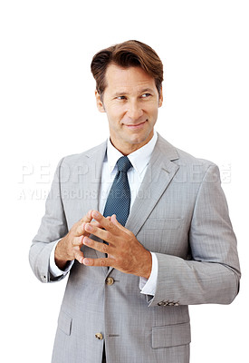Buy stock photo Portrait of a smiling young businessman looking away against white background